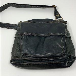 Black leather Fossil Shoulder Bag.